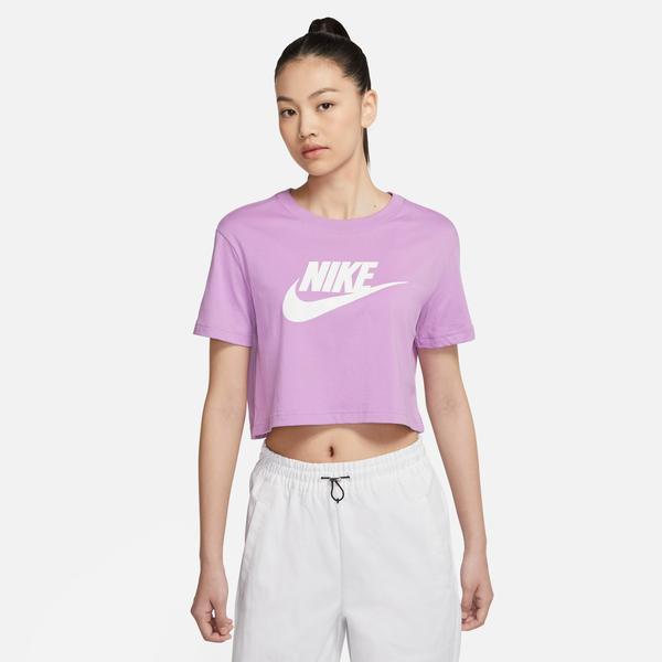 Nike Sportswear Essential Kadın Mor Cropped T-Shirt