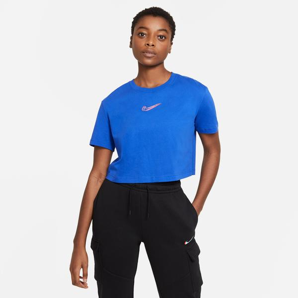 Nike Sportswear Crop Prnt Kadın Mavi T-Shirt