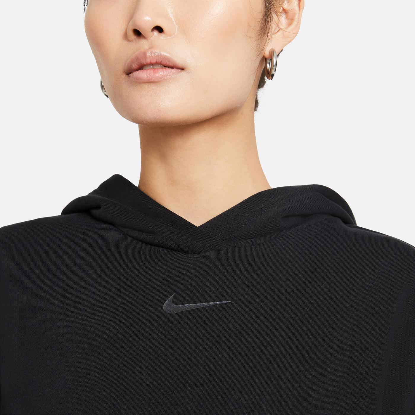 Nike Sportswear Icn Clsh Ft Kadın Siyah Sweatshirt