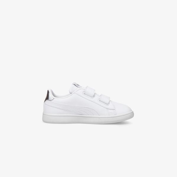 Puma Smash V2 Sl Metallic V Çocuk Beyaz Spor Ayakkabı