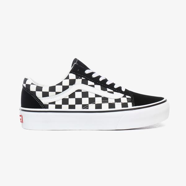 Vans Old Skool Platform Checkerboard Kadın Siyah Sneaker