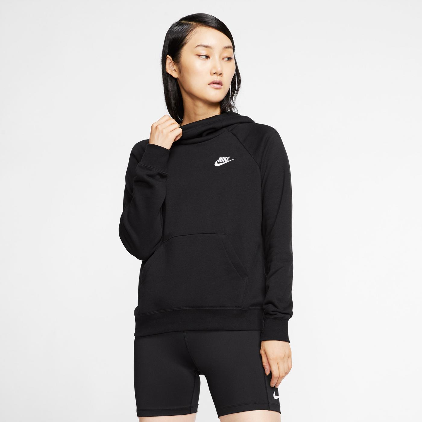 Nike Essential Funnel-Neck Fleece Kadın Siyah Sweatshirt