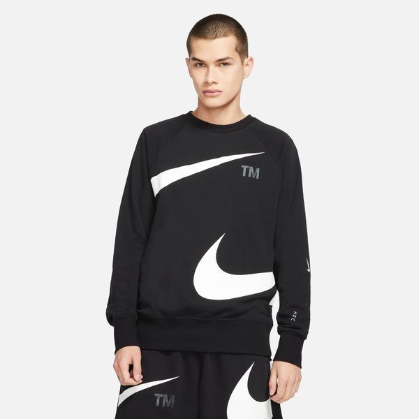 Nike Swoosh Fleece Crew Erkek Siyah T-shirt