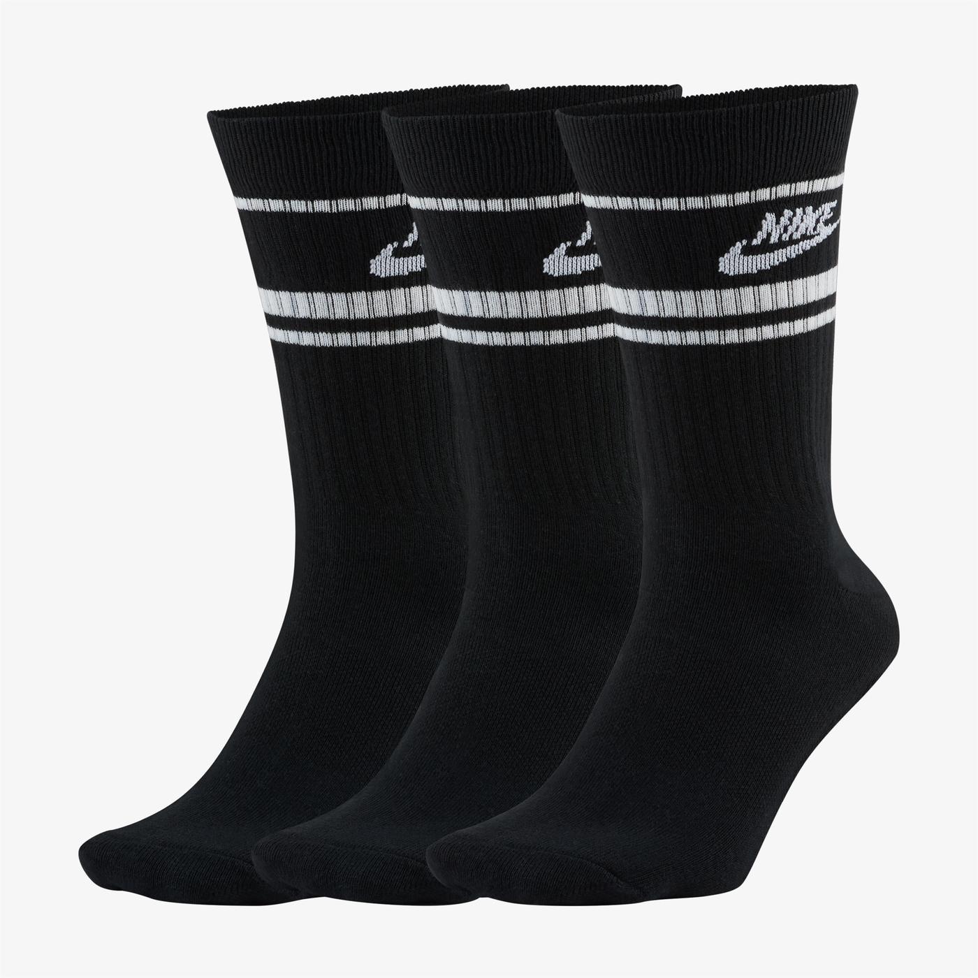 Nike Sportswear Essential Stripe Unisex Siyah Çorap