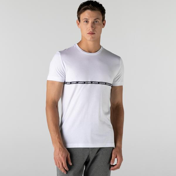 Lacoste Erkek Slim Fit Bisiklet Yaka Çizgili Beyaz T-Shirt