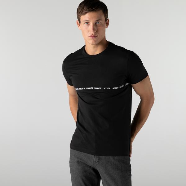 Lacoste Erkek Slim Fit Bisiklet Yaka Çizgili Siyah T-Shirt