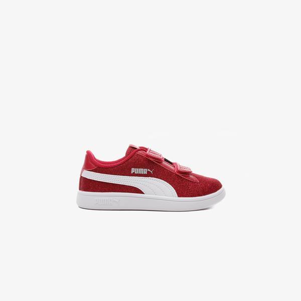 Puma Smash V2 Glitz Glam V Çocuk Kırmızı Spor Ayakkabı