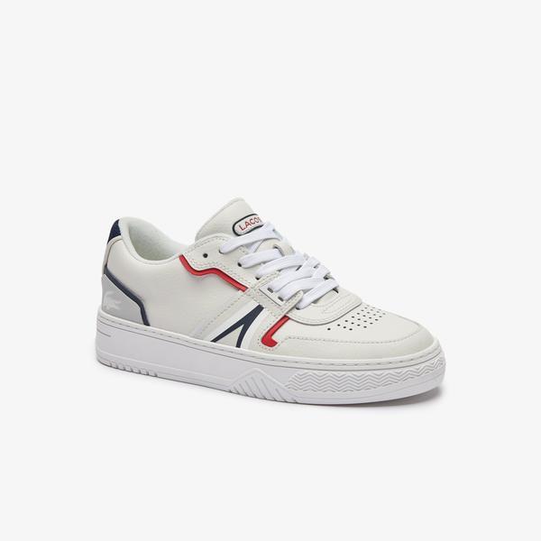 Lacoste L001 Kadın Deri Beyaz - Lacivert- Kırmızı Spor Ayakkabı