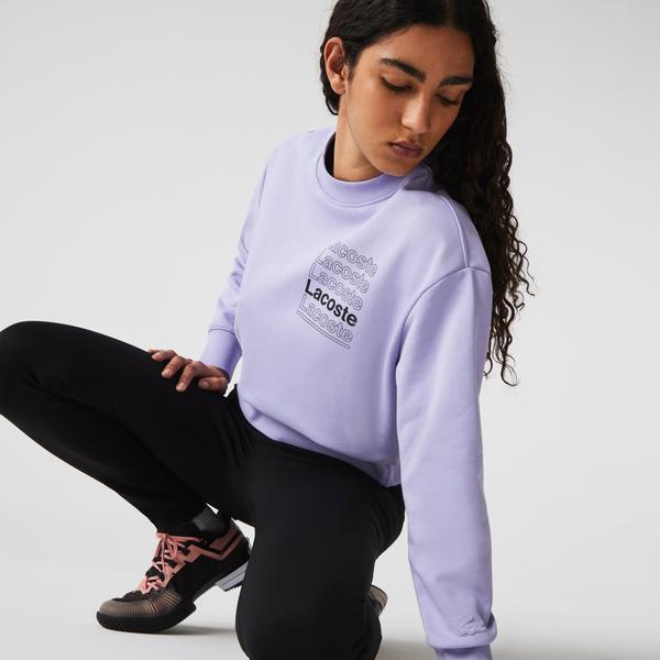 Lacoste L!ve Kadın Boxy Fit Bisiklet Yaka Baskılı Mor Sweatshirt