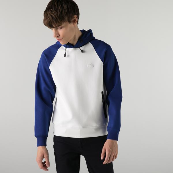 Lacoste Relaxed Fit Kapüşonlu Renk Bloklu Erkek Beyaz Sweatshirt