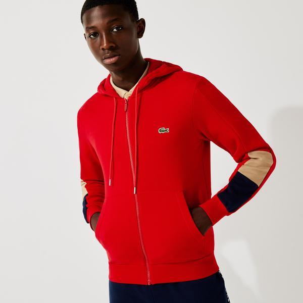 Lacoste Erkek Classic Fit Fermuarlı Renk Bloklu Kırmızı Sweatshirt