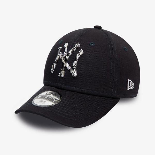 New Era New York Yankees Camo Infill Kıds Navy 9Forty Çocuk Siyah Şapka