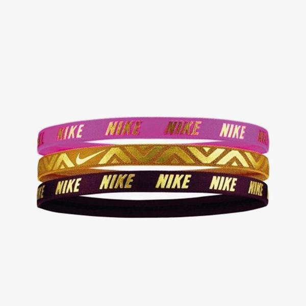 Nike Printed Metallic Assorted 3'lü Laser Fuchsia Unisex Pembe Saç Bandı