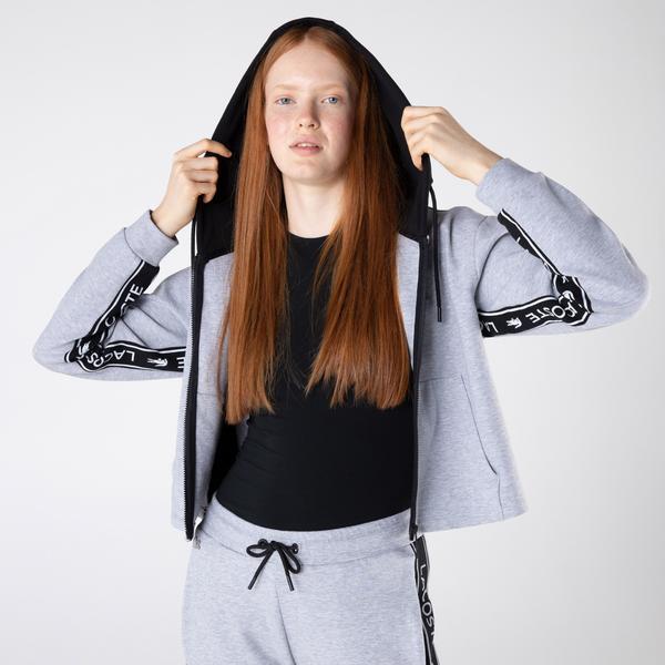 Lacoste Kadın Relaxed Fit Kapüşonlu Baskılı Gri Sweatshirt
