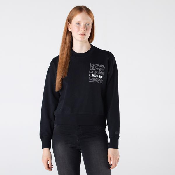 Lacoste L!ve Kadın Boxy Fit Bisiklet Yaka Baskılı Siyah Sweatshirt
