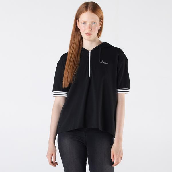 Lacoste Kadın Loose Fit Kapüşonlu Siyah Polo