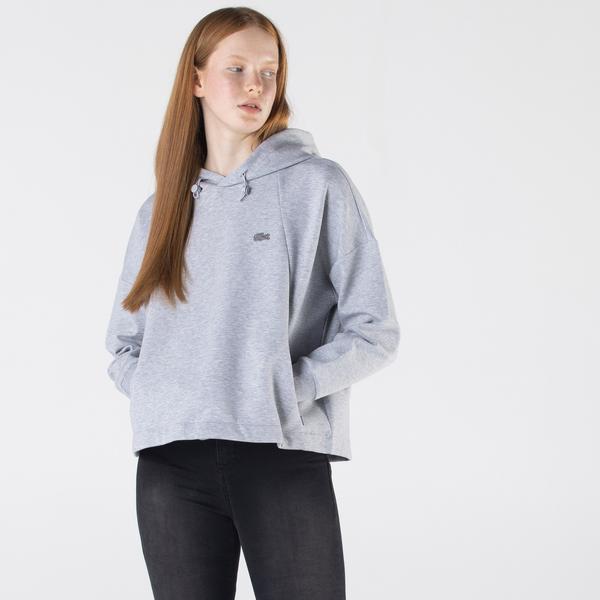 Lacoste Kadın Relaxed Fit Kapüşonlu Gri Sweatshirt