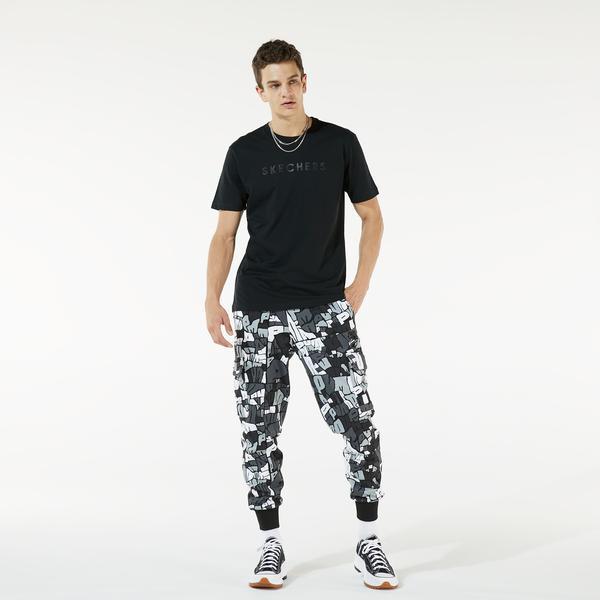 Skechers M Camo Logo T-Shirt Erkek Siyah T-shirt