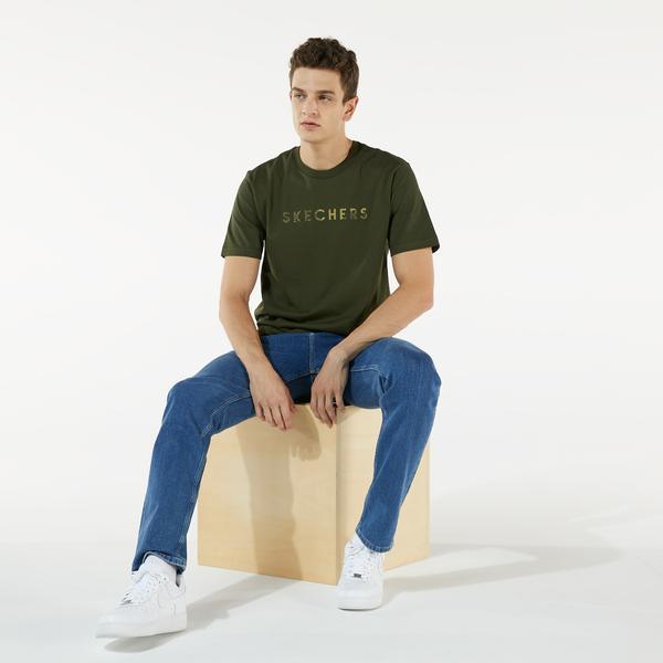 Skechers M Camo Logo T-Shirt Erkek Yeşil T-shirt