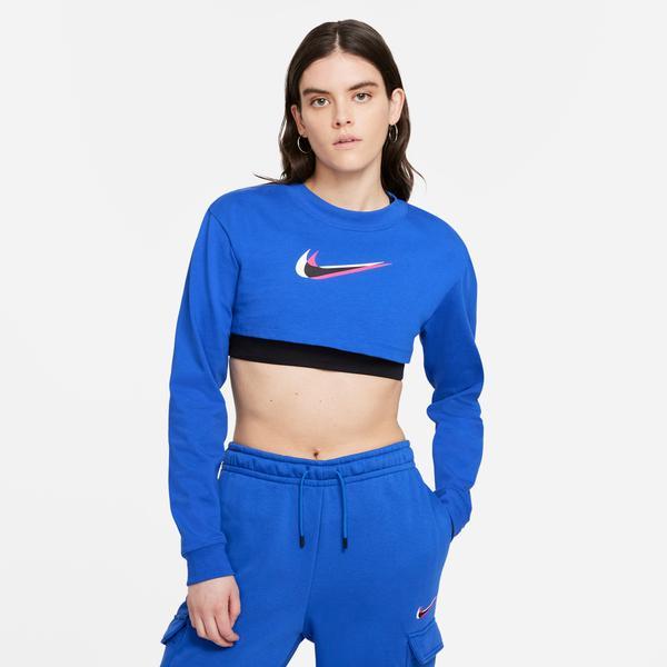 Nike Sportswear Top Ls Crop Print Kadın Mavi T-Shirt