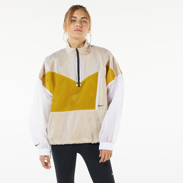 Nike Sportswear Pack Woven Mesh Kadın Sarı Kapüşonlu Ceket