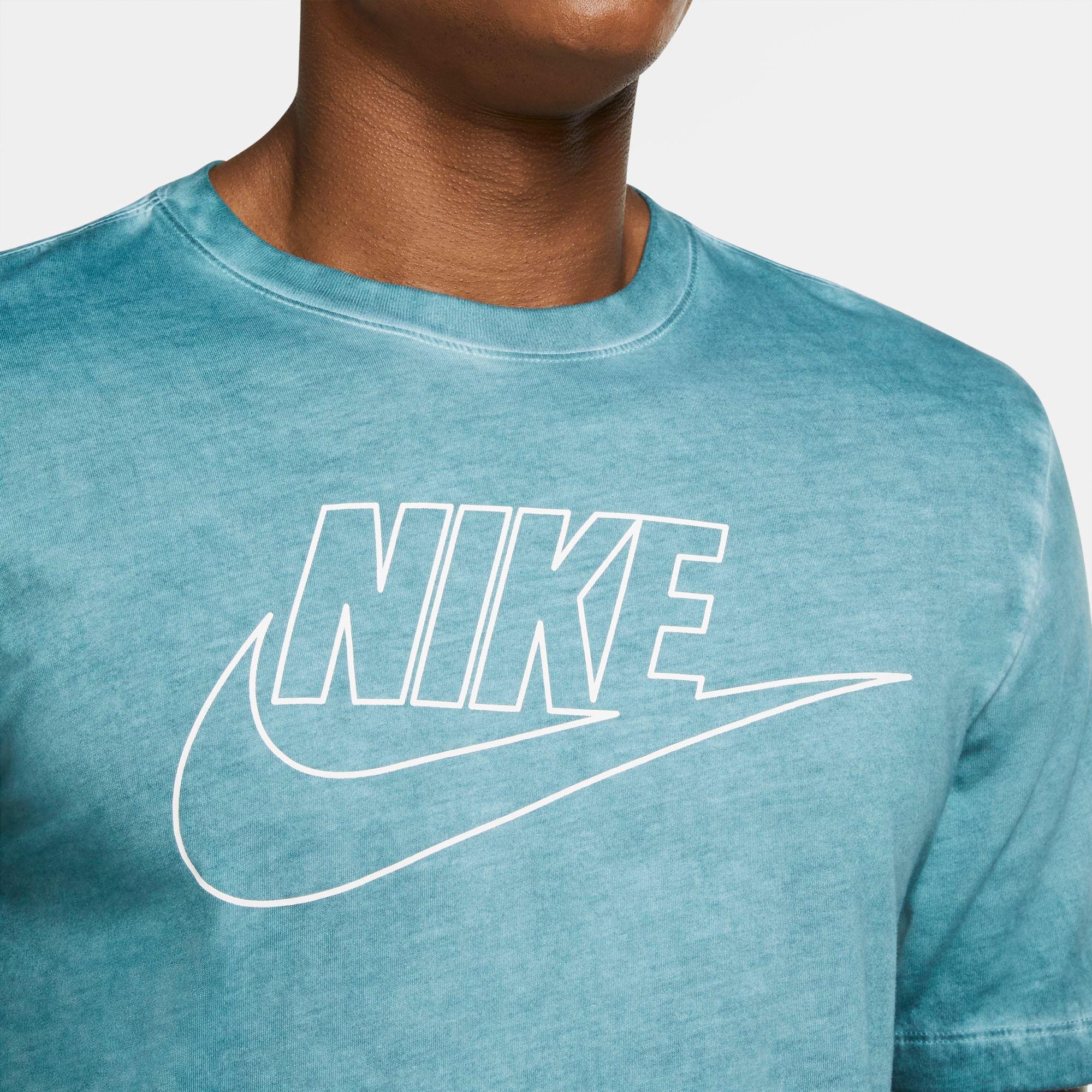 Nike Sportswear Dye/Wash Hyber Erkek Mavi T-Shirt