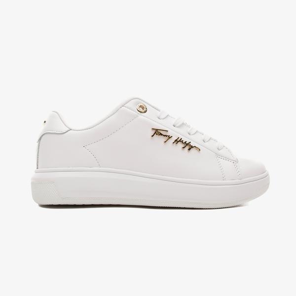 Tommy Hilfiger Signature Deri Kadın Beyaz Spor Ayakkabı