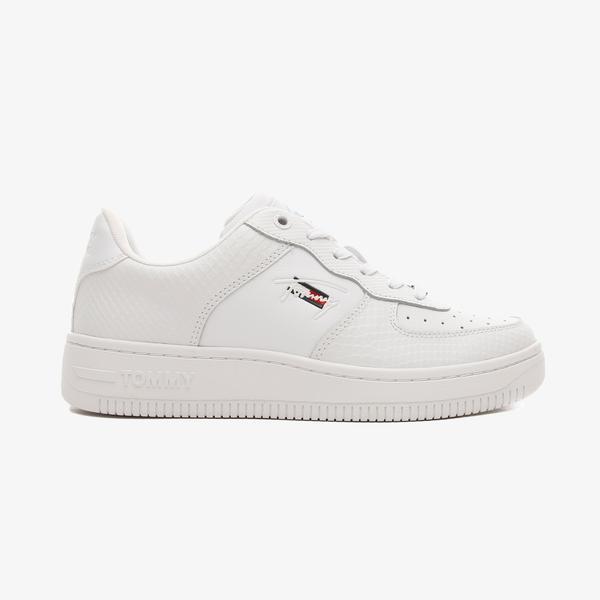 Tommy Hilfiger Textured Deri Basket Cupsole Kadın Beyaz Spor Ayakkabı