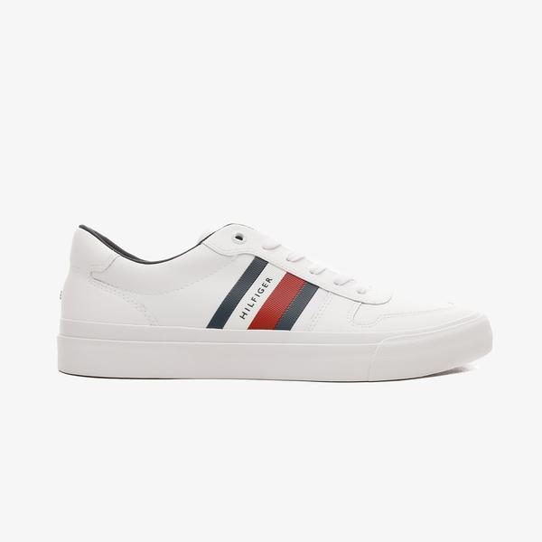 Tommy Hilfiger Core Corporate Stripes Erkek Beyaz Spor Ayakkabı