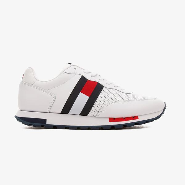 Tommy Hilfiger Retro Deri Runner Erkek Beyaz Spor Ayakkabı