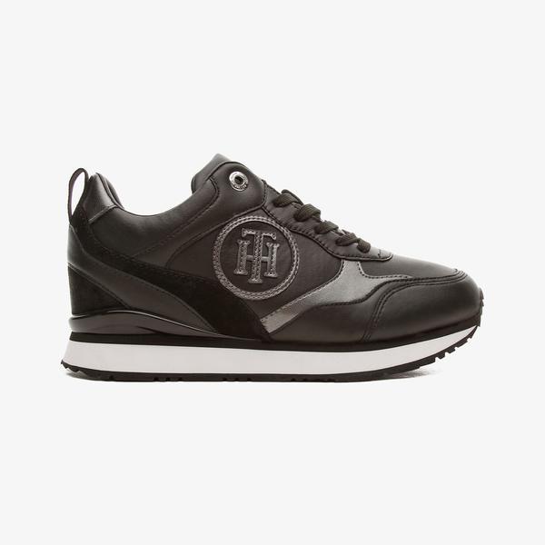 Tommy Hilfiger Metallic Dressy Wedge Kadın Siyah Spor Ayakkabı