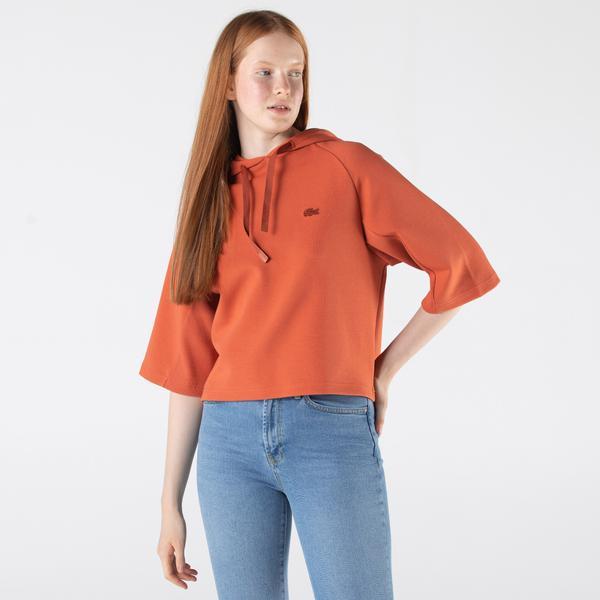Lacoste Kadın Relaxed Fit Kapüşonlu Baskılı Turuncu Sweatshirt
