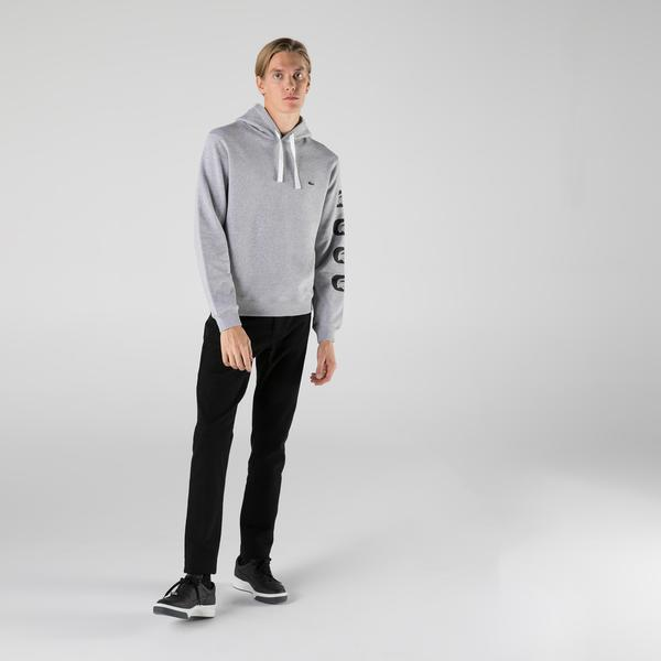 Lacoste Erkek Classic Fit Kapüşonlu Baskılı Gri Sweatshirt